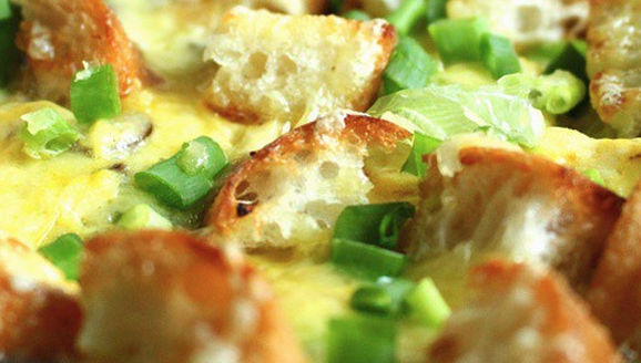 Cheddar Cheese, Mushroom and Crouton Frittata