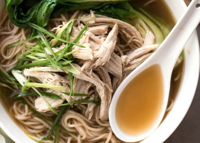 Noodles with Shredded Chicken and Bok Choi